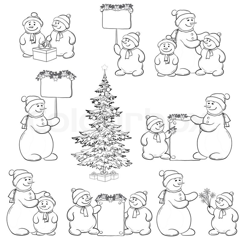 Mr Snowman On Christmas Is Getting Cold Coloring Page: Set Snowman And Christmas Tree, Outline