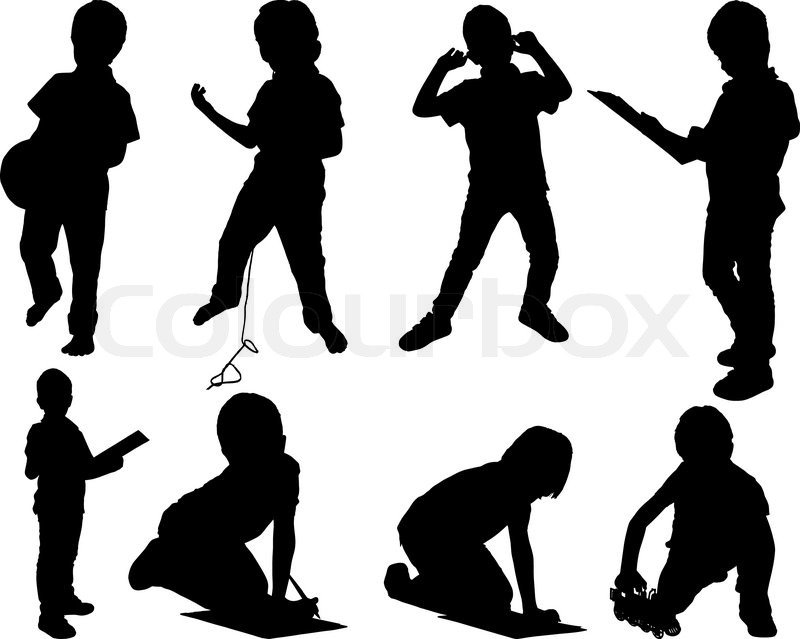 leisure child set silhouettes stock vector colourbox rh colourbox com mother child silhouette vector child sitting silhouette vector