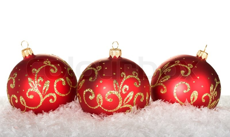 Three red christmas balls with pattern | Stock Photo | Colourbox