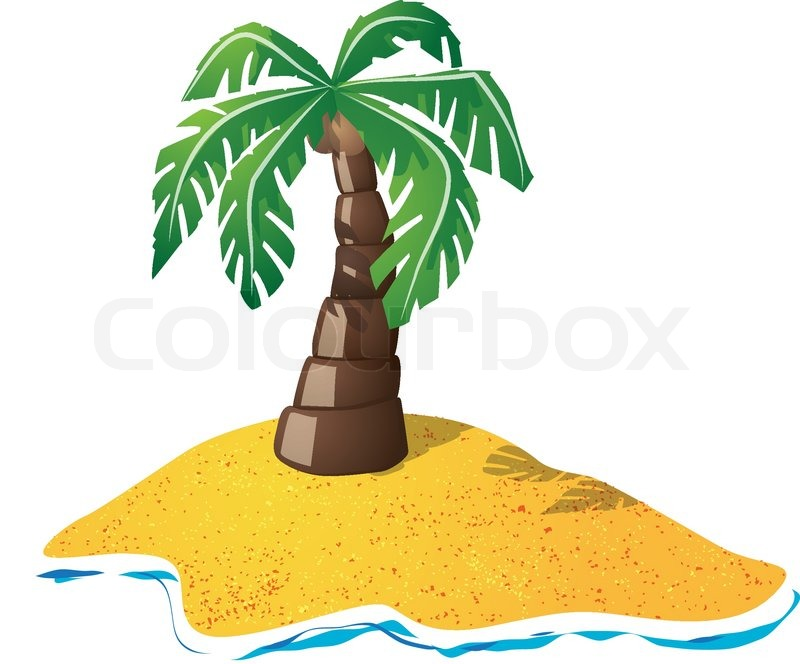 Cartoon drawing of small lonely island with palm tree ...