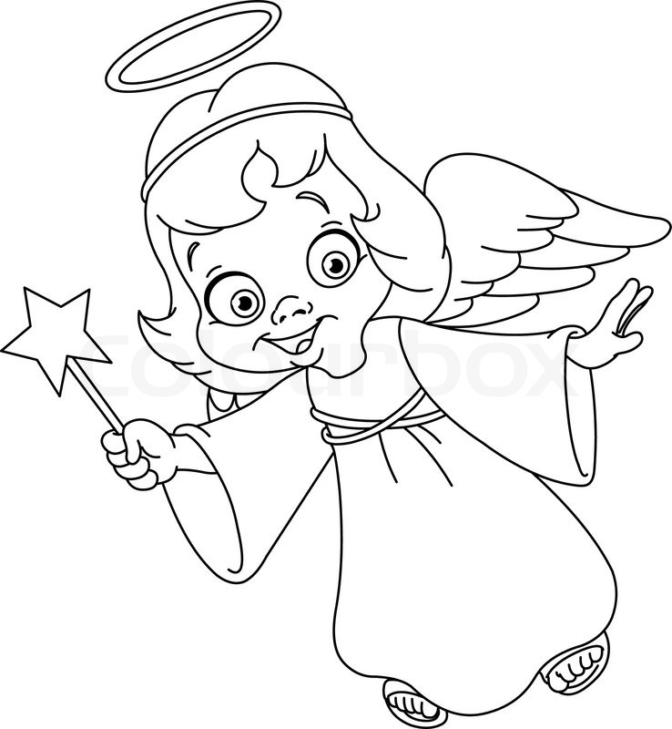 Outlined Christmas angel Coloring page Stock Vector Colourbox