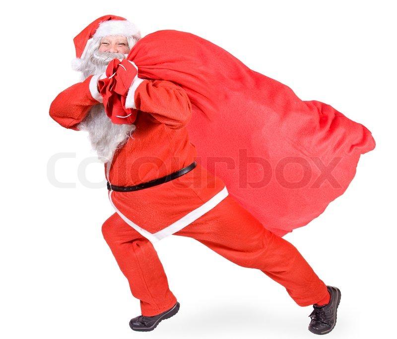 Santa Claus With A Big Bag Stock Image Colourbox