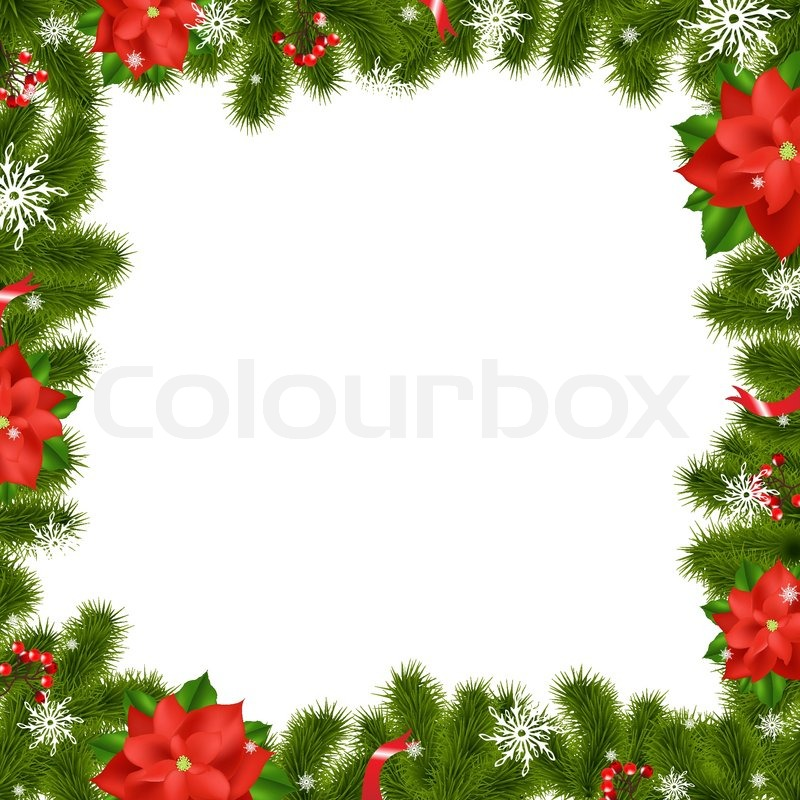 Frame fir tree branches with poinsettia stock vector for Poinsettia christmas tree frame