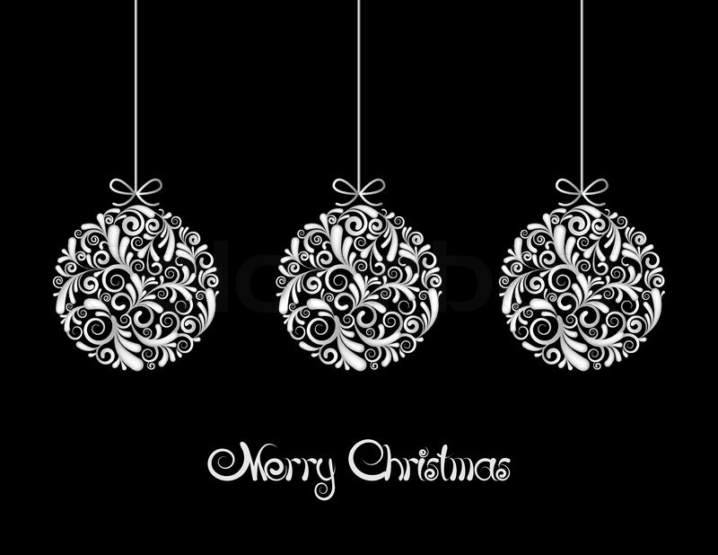 Three White Christmas balls on black background | Stock Vector ...