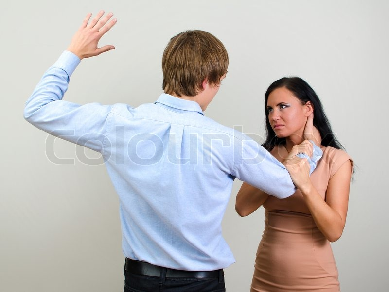 Man Slaps Another Man Man Slapping a Woman Depicting