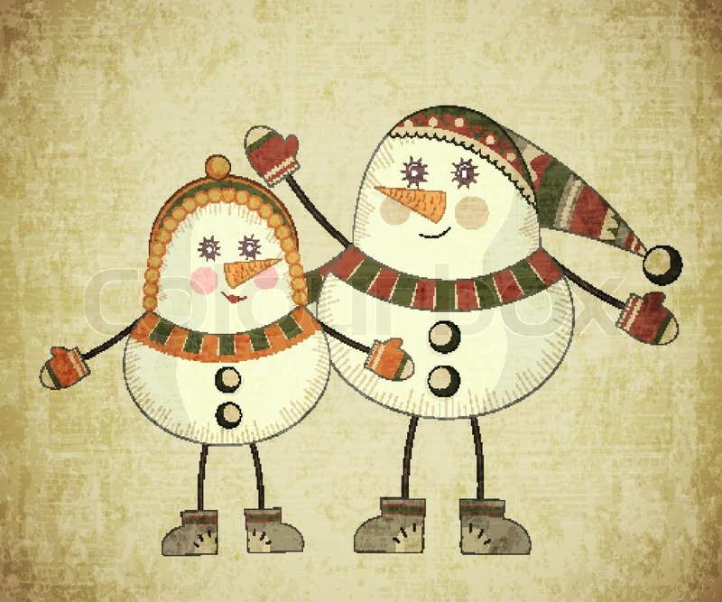 Vintage Christmas card - Two snowmen on grunge background - postcard ...