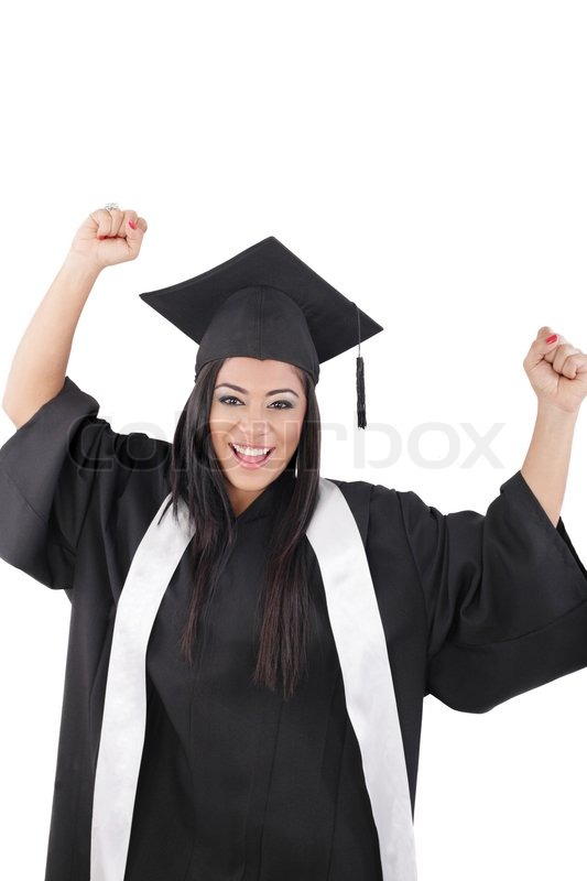 Graduation of a woman dressed in a black gown | Stock Photo | Colourbox