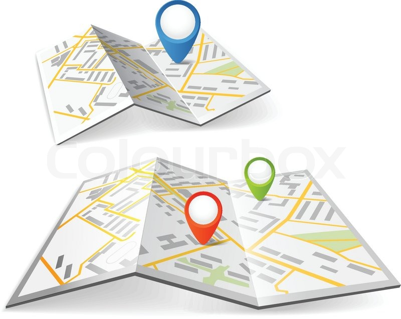 Folded Maps With Color Point Markers Stock Vector