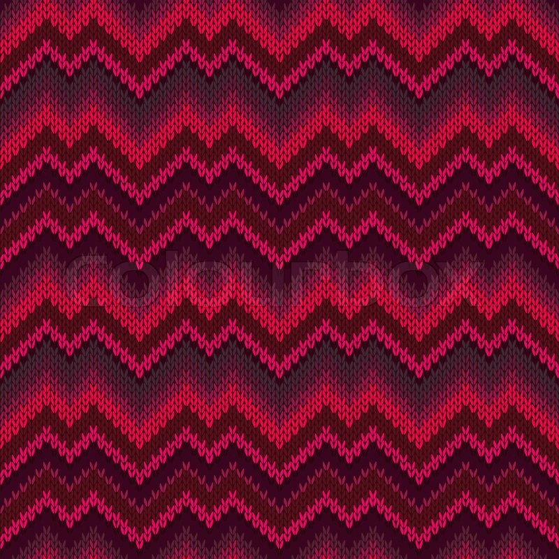 Red Zigzag Wave Style Passion Seamless Ornamental Knitted Pattern ...