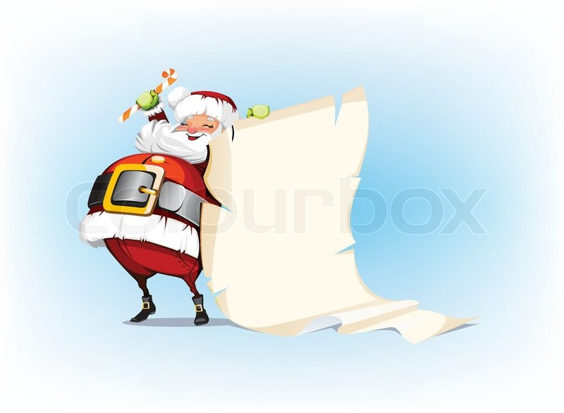 Santa Claus Holding Candy And Standing Beside Scroll