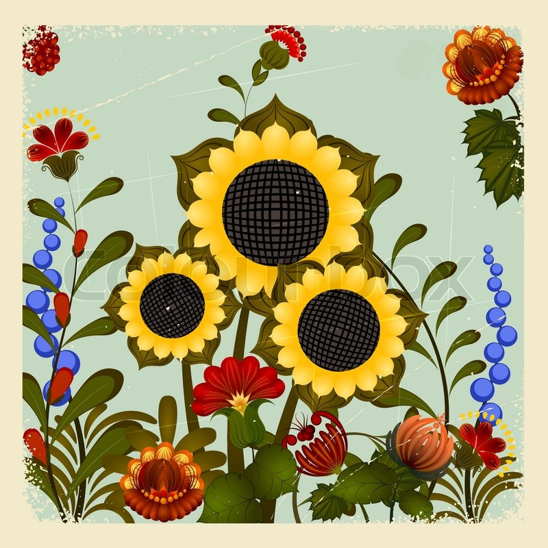 Traditional Ukrainian Ornament With A Sunflower On The Vintage Background Eps10