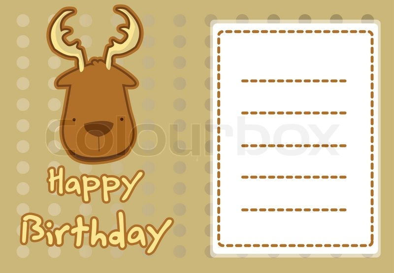 Cute deer birthday card stock vector colourbox cute deer birthday card vector bookmarktalkfo Image collections