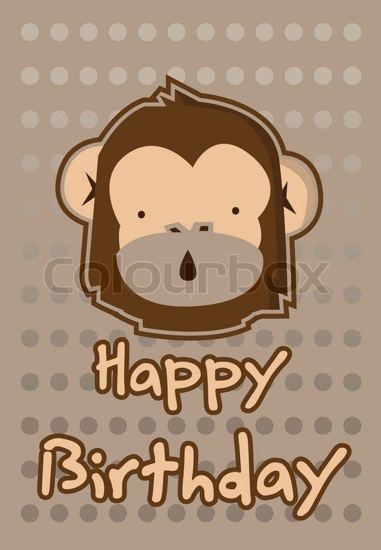 Cute Monkey Birthday Card Stock Vector Colourbox