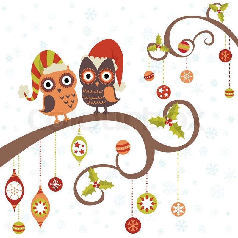 christmas card of owls in hats sitting on a tree branch. Black Bedroom Furniture Sets. Home Design Ideas