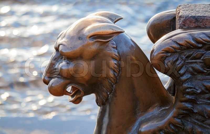 Editorial image of 'Griffin - bronze winged lion on the University Embankment, St Petersburg Russia'