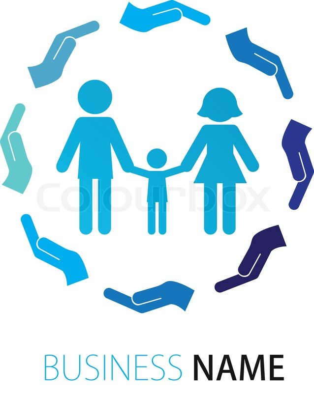 company logo design peoples family stock vector