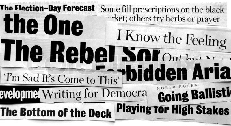 New paper headlines, stock photo