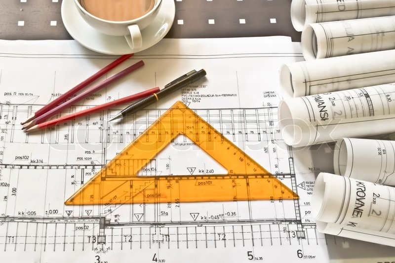 Heap Of Architect Design And Project Drawings On Table Background Stock Photo Colourbox