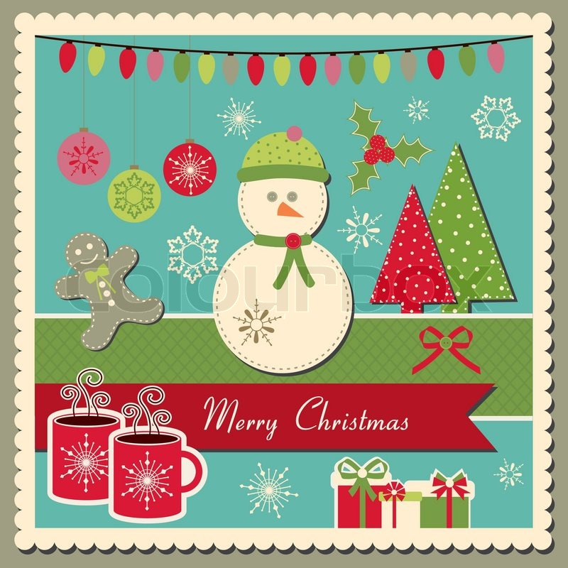 Scrapbook inspired vector scrapbook Christmas card with snowman ...