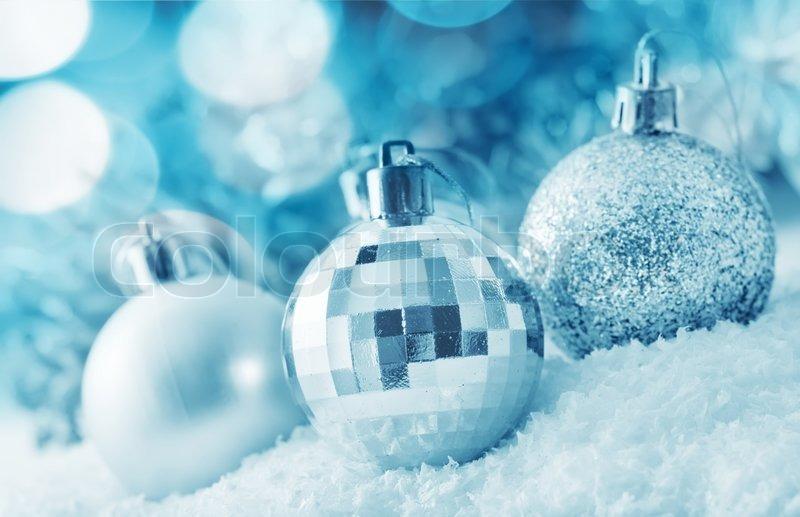 Christmas balls silver balls christmas decoration on the light