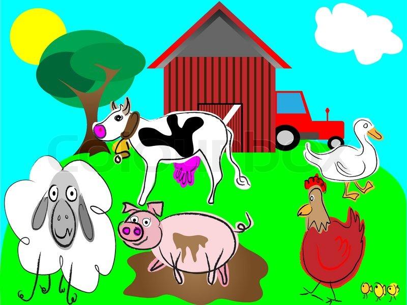 Cartoon Farm Animals Vector Stock Colourbox