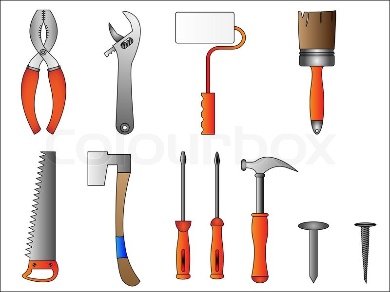 Building tools and instruments stock vector colourbox Tools to build a house