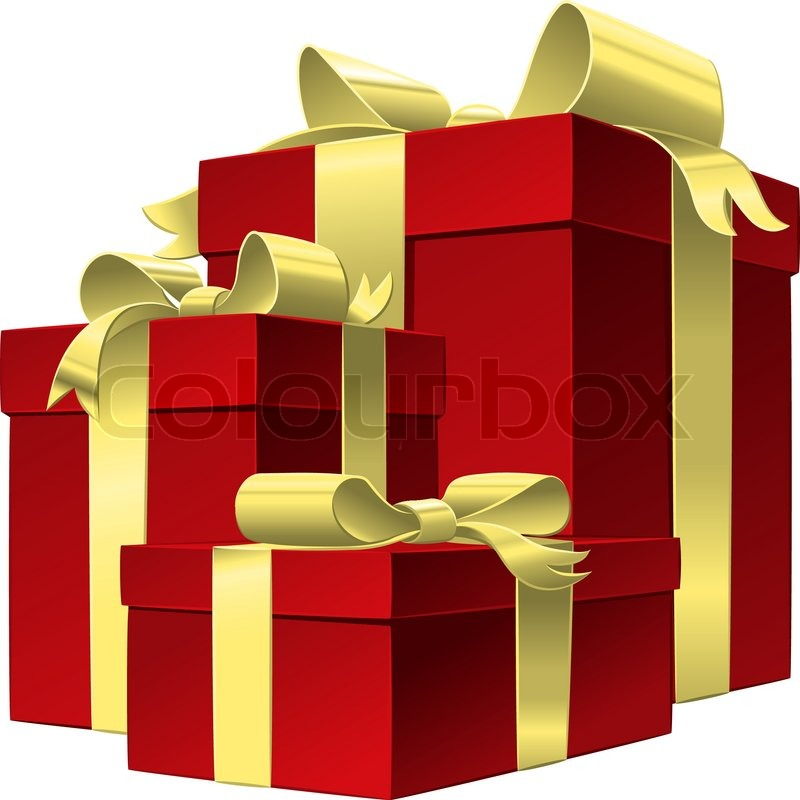 vector set red gift box with gold stock vector