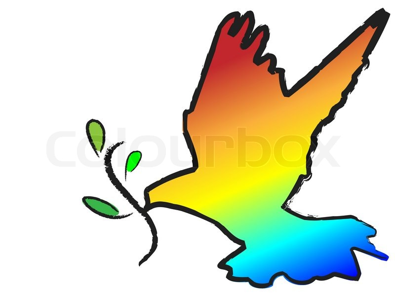 vector colorful dove with olive branch symbol on white stock vector colourbox