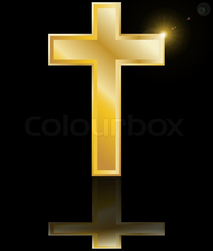 Holy Cross Symbol Of The Christian Faith On A Black Background With