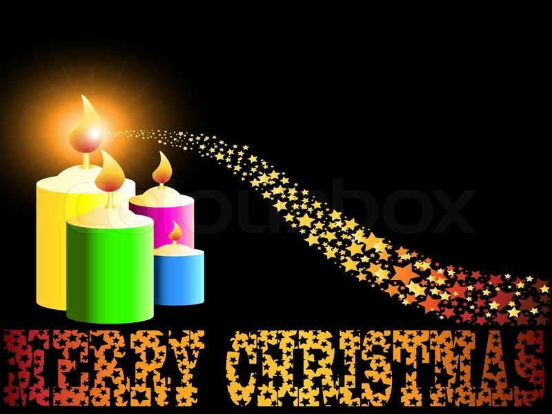 Merry Christmas Candle And Gold Comet Shooting Star Like Vector Sparkles Background
