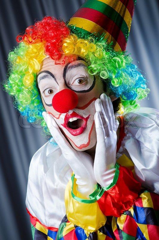 funny clown in studio shooting stock photo colourbox. Black Bedroom Furniture Sets. Home Design Ideas