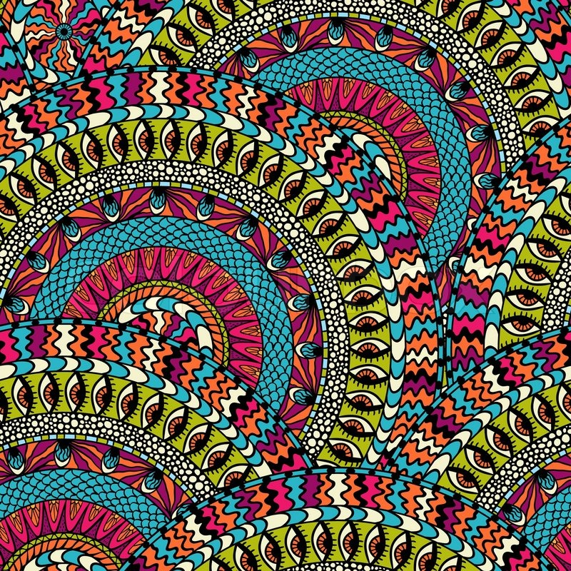 Colorful Ethnicity Round Ornament Vector Seamless Pattern