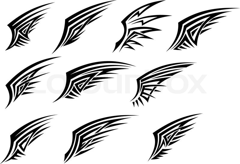 Set of black tribal wing tattoos | Stock Vector | Colourbox