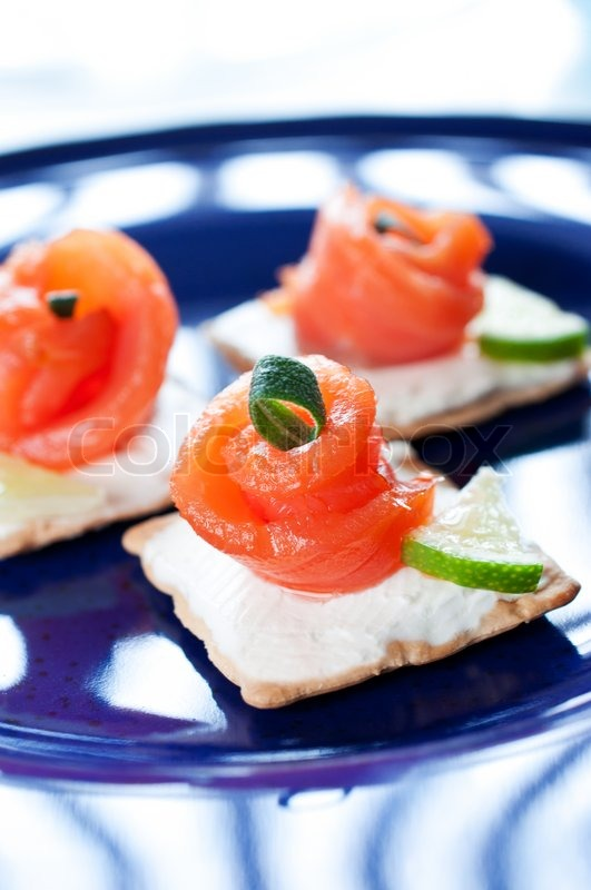 canapes with smoked salmon and cream cheese stock photo