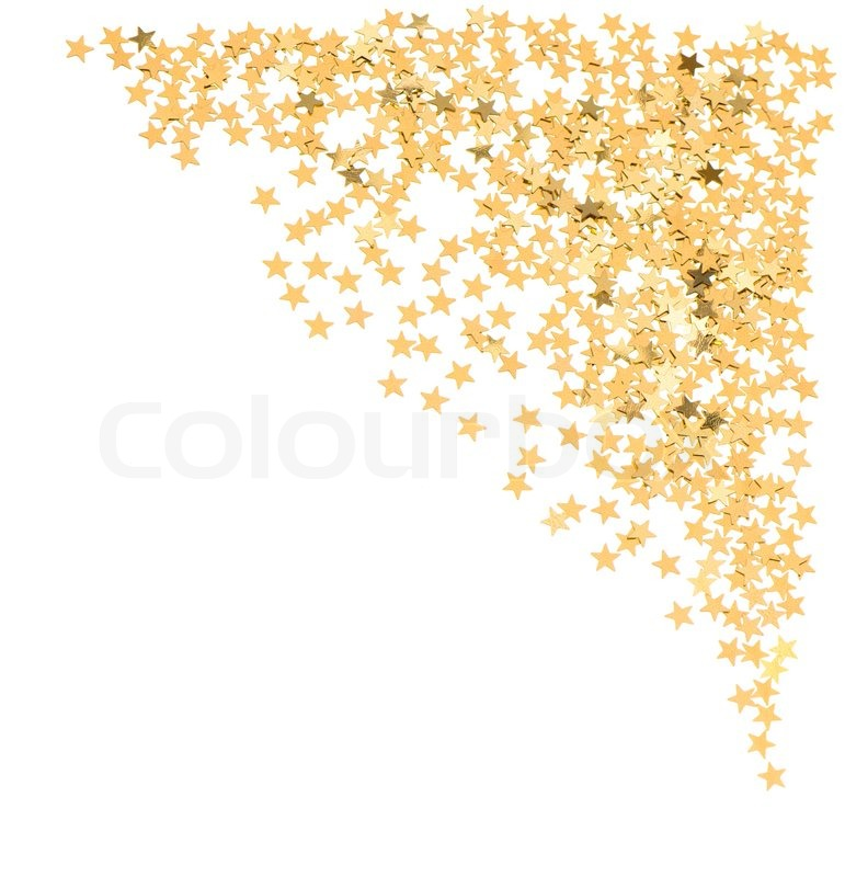 golden confetti in star shape on white stock photo Gift Coupons Clip Art Holiday Gift Ribbon Clip Art