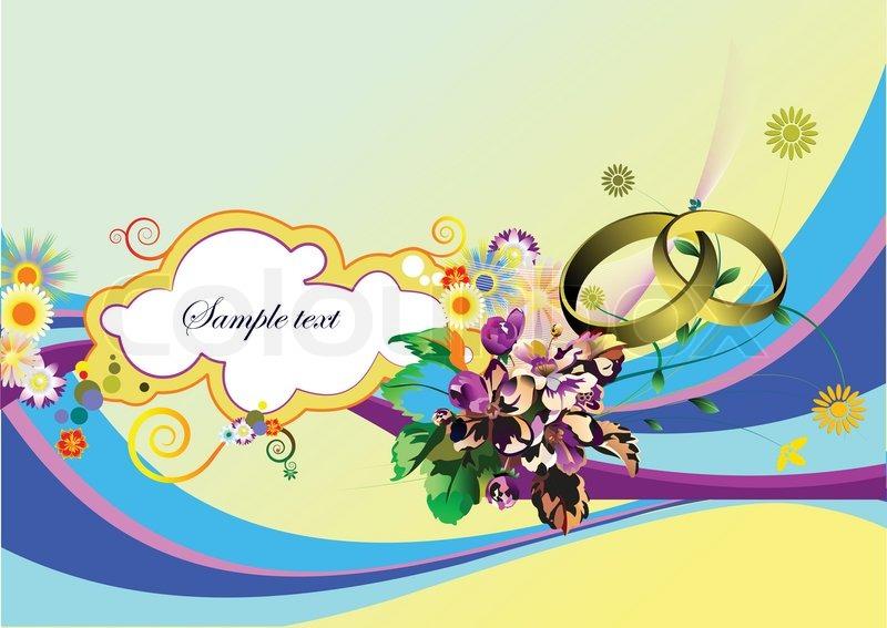 Wedding Invitation On Green Background Stock Vector