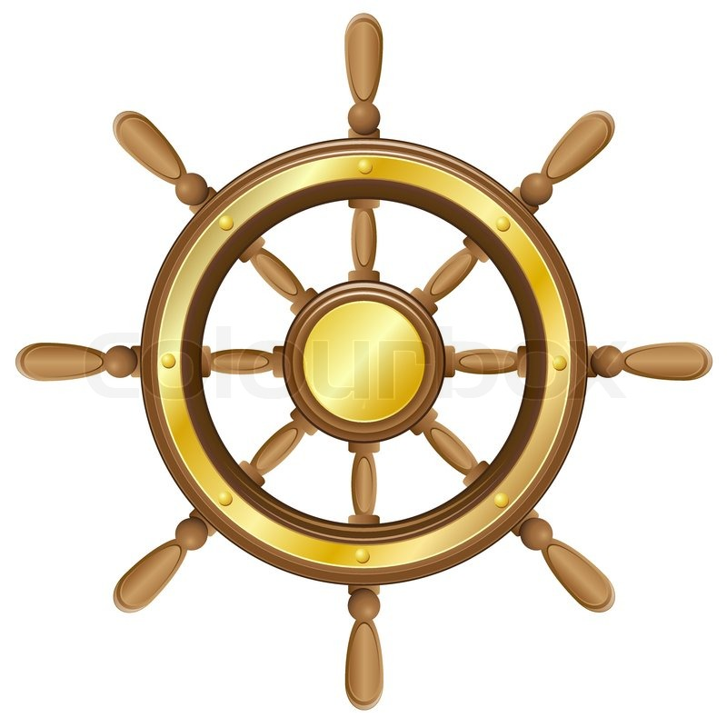 Steering Wheel For Ship Vector Illustration Stock Vector