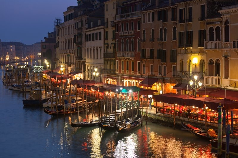 Grand Canal At Night Venice Stock Photo Colourbox