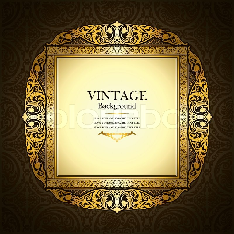 Vintage picture wall frame wall, damask background, antique ...
