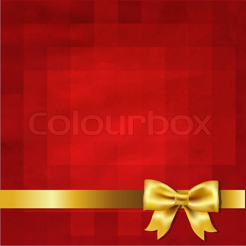 Gold Satin Bow And Red Vintage Background Stock Vector