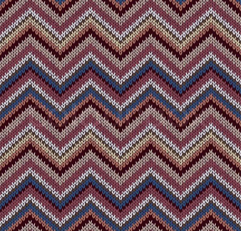 Style Seamless Knitted Pattern Blue Brown White Yellow Color ...