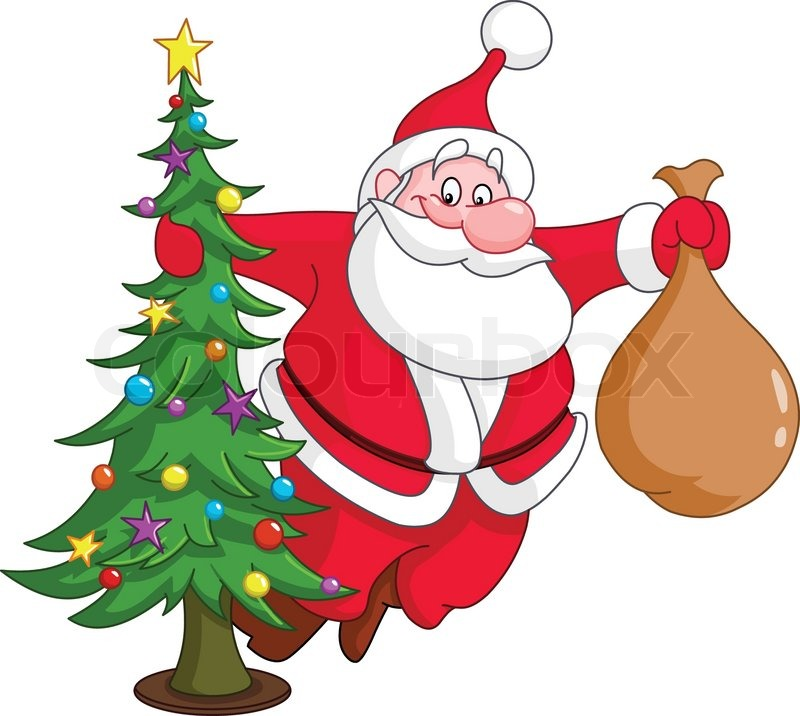 santa with christmas tree and gifts sack vector - Christmas Tree Santa