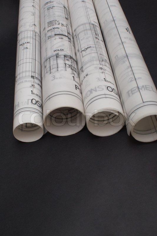 constructions blueprints,architec tural desk | Stock Photo | Colourbox