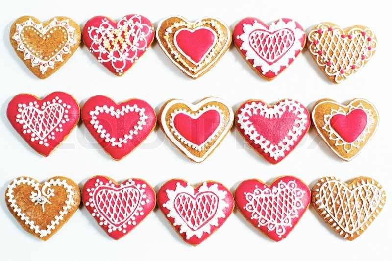 Red Heart Shaped cookies for Valentines Day over white | Stock ...