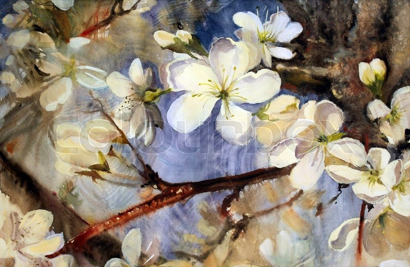 Watercolor painting of the blooming spring tree branches - White painted tree branches ...