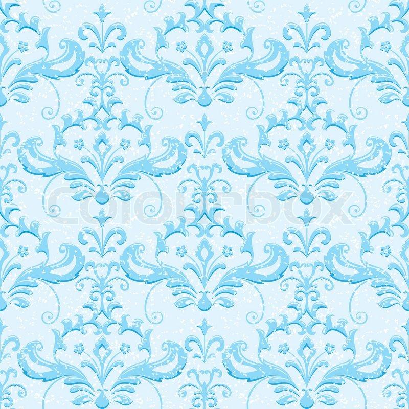 Light Blue Classic Ornamental Wallpaper Vector