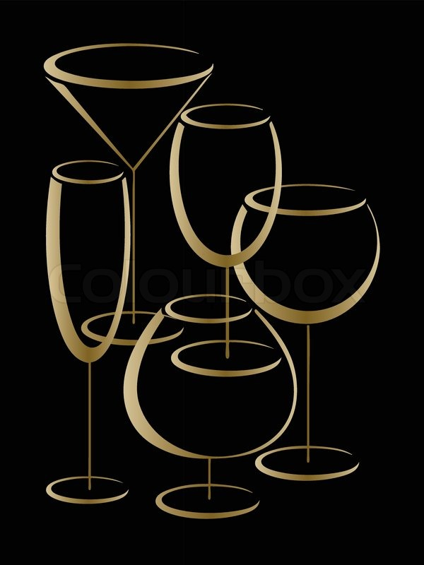gold glasses of alcohol drinks on black background stock