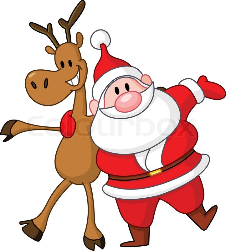 reindeer and santa embracing each other vector - Christmas Reindeer Pictures