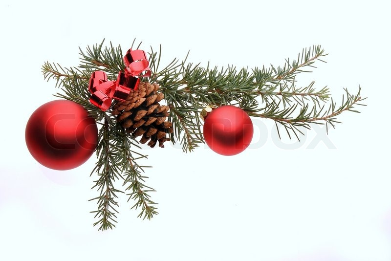 Christmas decoration with pine branches red glass balls for What to do with pine cones for christmas
