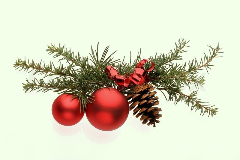 Decoration with pine branch red glass balls and cone